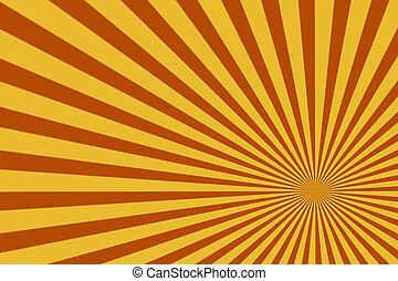 brauner, muster, abstrakt, steigend, hintergrund, sun., sunburst, oder