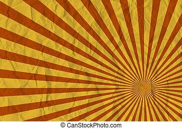 brauner, muster, abstrakt, sun., hintergrund, weinlese, steigend, sunburst, oder