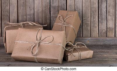 brauner, pakete, auf, deck
