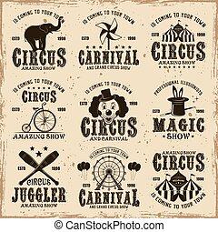brauner, satz, zirkus, etiketten, vektor, embleme, abzeichen