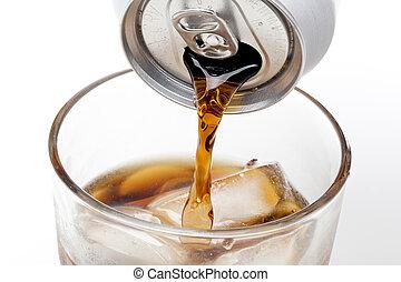 brauner, soda, in, a, klar, glas