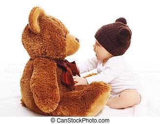 brauner,  teddy, groß, bär, gestrickt,  baby, Hut, spielende