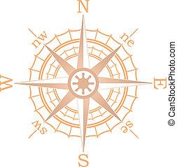 brauner, vektor, abbildung, segeln, kompaß