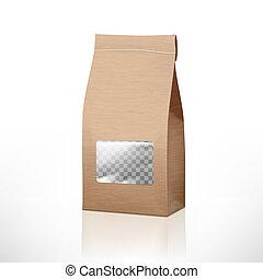 brauner, verpackung, tasche, fenster, handwerk, papier, durchsichtig