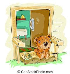 brauner, vorhalle, sitzen, teddy, abbildung, traurige , ...