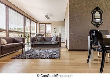 brauner, wohnzimmer, mit, sofas