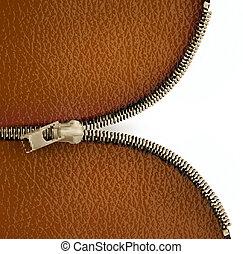 brauner, zipper., leder, abbildung, vektor, beschaffenheit, hintergrund