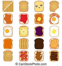 braunes brot, toast, mit, marmelade, ei