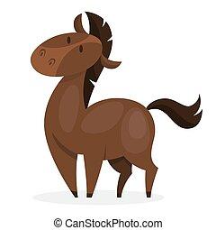 braunes pferd, inländisch, säugetier, wild, animal., oder