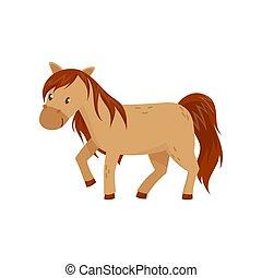 braunes pferd, pony, abbildung, vektor, hintergrund, weißes