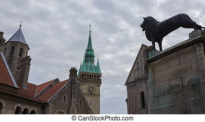 Braunschweig old buildings and lion statue near Dom,...