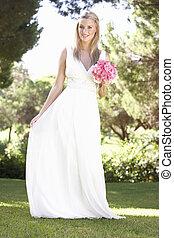 braut, abnützende kleidung, besitz, bouqet, an, wedding