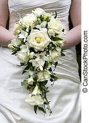 braut, besitz, a, weddingbouquet