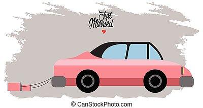 braut bräutigam, auf, a, auto., geheiratet, paar