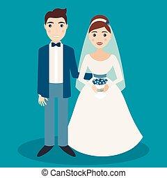 braut bräutigam, charaktere, freigestellt, auf, blauer hintergrund