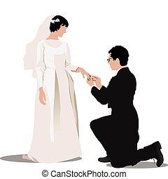 braut bräutigam, freigestellt, weiß