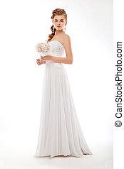 braut, couture, posierend, wedding, weisse blumen, kleiden