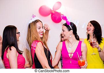 braut, heiter, feiern, brautjungfern, party, henne, getrãnke