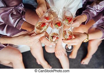 braut, mädels, bachelorette, feiern, party