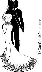 braut, paar, silhouetten, wedding, stallknecht