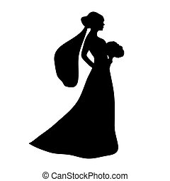 braut, silhouette