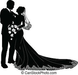braut, stallknecht, silhouette