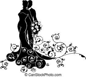 braut, stallknecht, silhouette, wedding