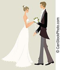 braut, und, bräutigam
