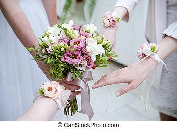 brautjungfern, wedding, braut, party, blumen, ', henne, blumengebinde, hände