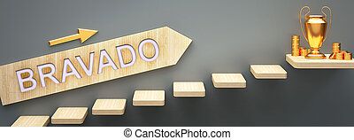 Bravado leads to money and success in business and life - symbolized by stairs and a Bravado sign pointing at golden money to show that Bravado helps becoming rich, 3d illustration.