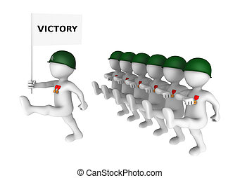 Brave 3d soldiers march on parade with victory flag. 3d...