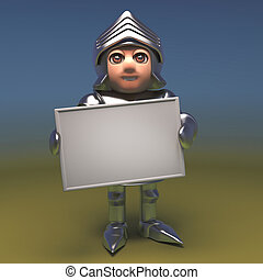 Brave armour clad medieval knight holding blank banner placard, 3d illustration