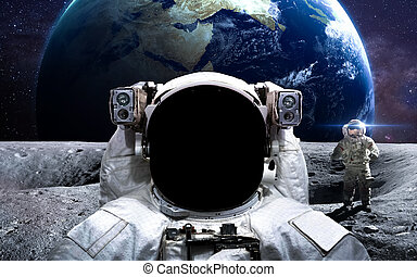 Brave astronaut at the spacewalk. This image elements...