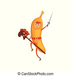 Brave banana cartoon character riding on stick horse with sword, man in fruit costume vector Illustration on a white background