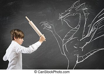 Brave boy fighting a dragon
