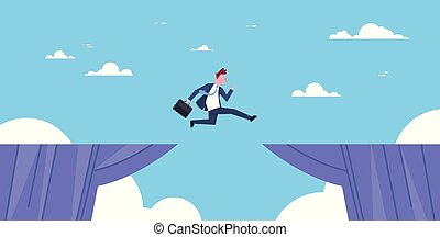 Brave Business Man Jump Over Cliff Gap Business To Success Risk And Danger Concept