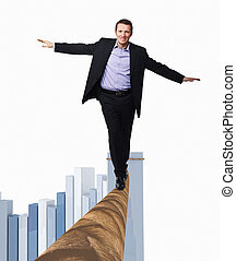 brave businessman - smiling man on rope and 3d chart