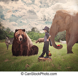 Brave Child in Field with Wild Animals - A brave child is...