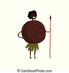 Brave coconut cartoon character with spear, man in fruit costume vector Illustration on a white background
