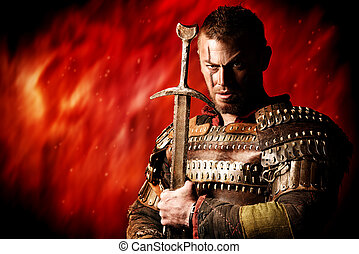 brave conqueror - Portrait of a courageous ancient warrior...