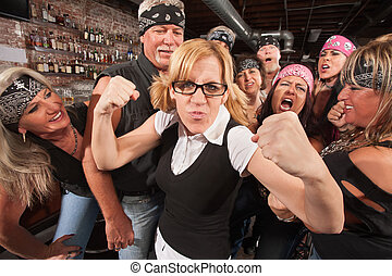Brave Female Nerd with Biker Gang - Brave nerd lady with...