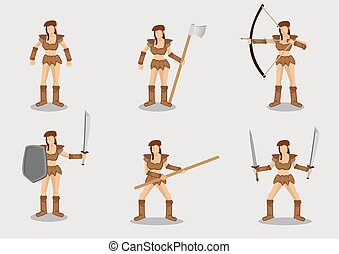 Brave Female Warrior Vector Character Design Set - Set of ...
