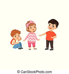 Brave girl trying to stop a boy who bullying little boy vector Illustration on a white background