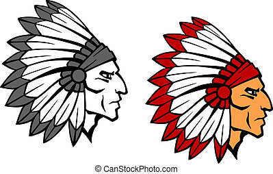 Brave indian warrior mascot - Brave indian warrior head for...