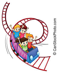 Brave kids riding in a roller coaster ride - Illustration of...