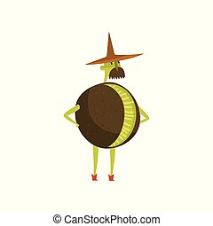 Brave kiwi cartoon character, man in fruit costume vector Illustration on a white background