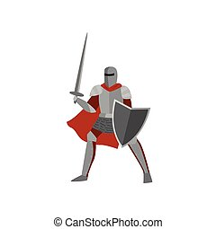 Brave knight in gray metal armor and helmet is ready to repel attack raising sword