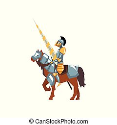Brave knight in shiny armor with lance in hand. Warrior on horse. Jousting tournament. Flat vector design for mobile game or story book
