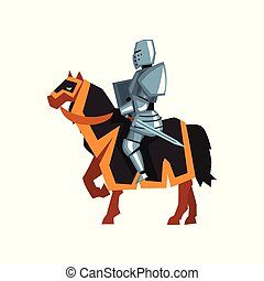 Brave knight in steel armor with sword and shield. Guardian of the kingdom. Flat vector design for website, mobile app or postcard