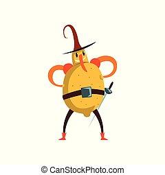 Brave lemon cartoon character, man in fruit costume vector Illustration on a white background